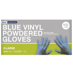 Blue Vinyl Gloves Powdered